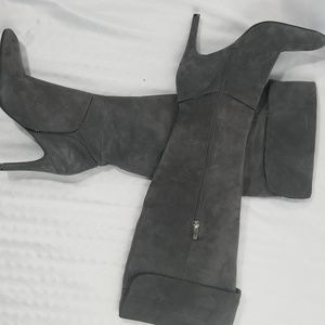 ENZO Angiolini Gray Suede Over the Knee Boots 8.5